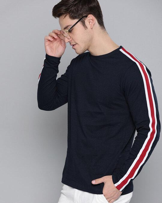 Shop Navy Plaint Shirtt Shirt-Front