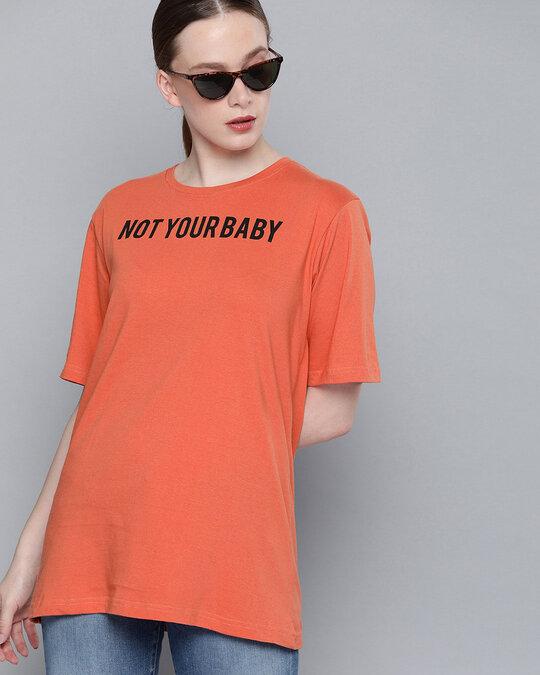 Shop Orange Typographic T Shirt-Front