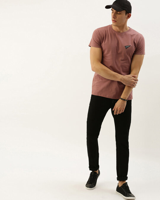 Shop Pink Solid T Shirt-Full