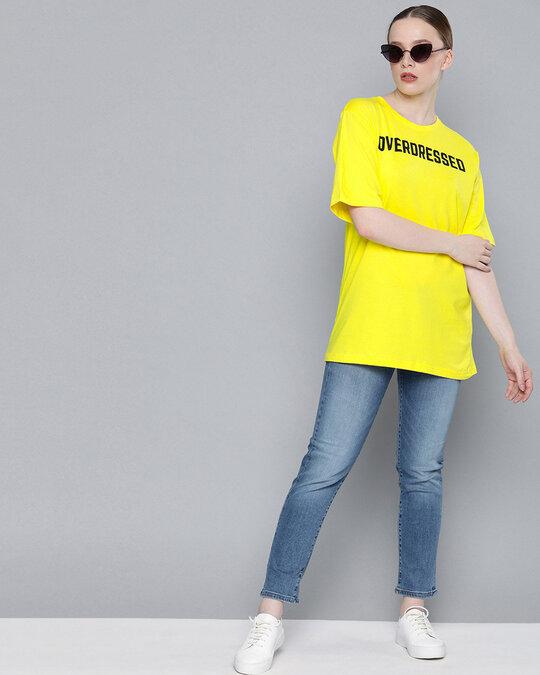 Shop Yellow Typographic T Shirt