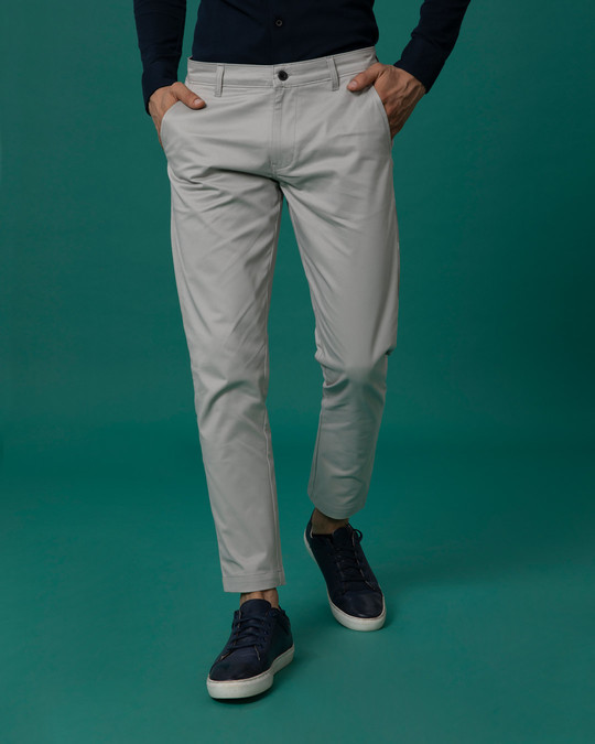 Shop Dim Grey Slim Fit Cotton Chino Pants-Front