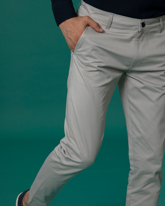 Shop Dim Grey Slim Fit Cotton Chino Pants-Back