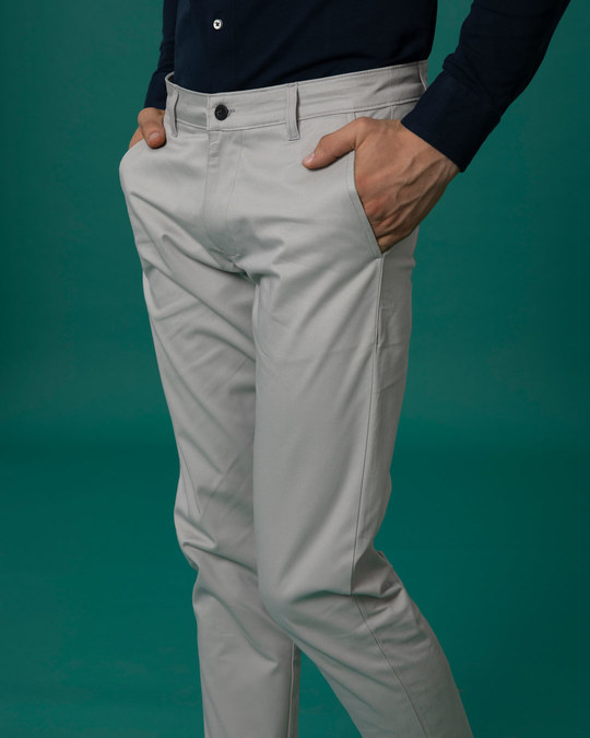 Shop Dim Grey Slim Fit Cotton Chino Pants-Design