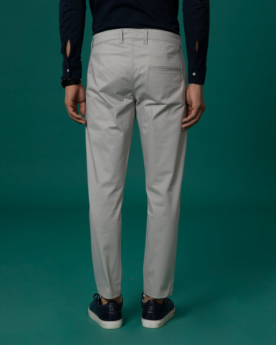 Shop Dim Grey Slim Fit Cotton Chino Pants-Full