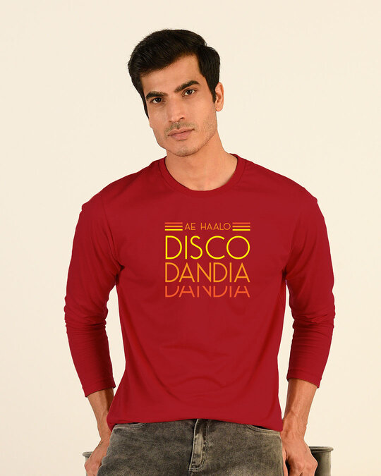 Shop Disco Dandiya Full Sleeve T-Shirt Bold Red-Front