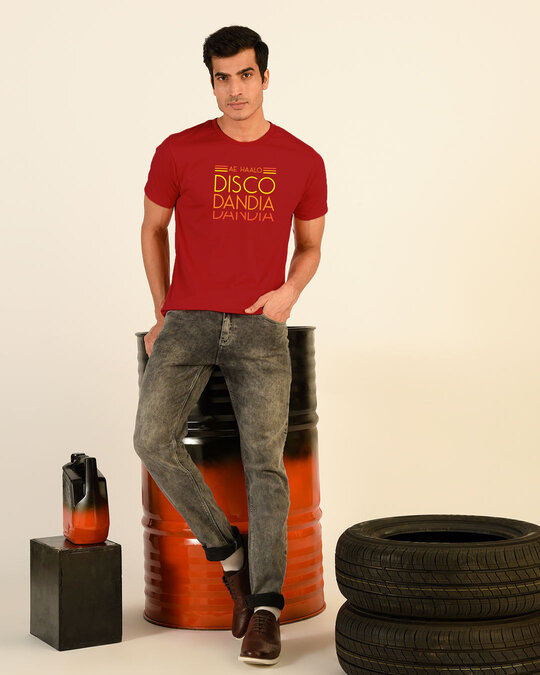Shop Disco Dandiya Half Sleeve T-shirt Bold Red-Front