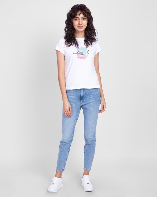 Shop Disconnect And Relax Half Sleeve T-Shirt White-Design