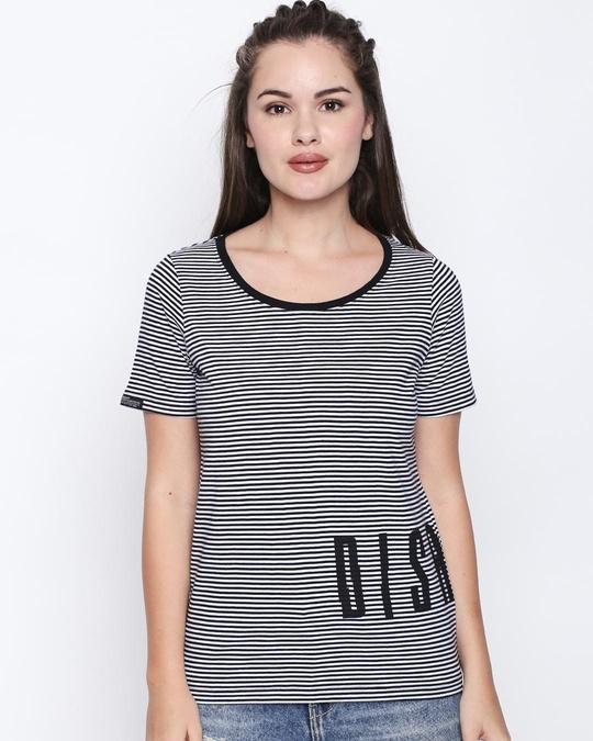Shop Black Cotton Graphic Print Half Sleeve T Shirt For Women's-Front
