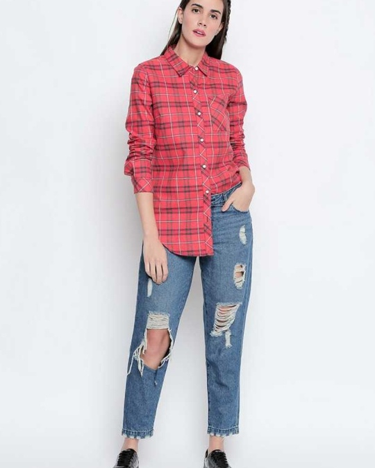 Shop Coral&Navy Cotton Fabric Checkered Regular Fit Shirt For Women