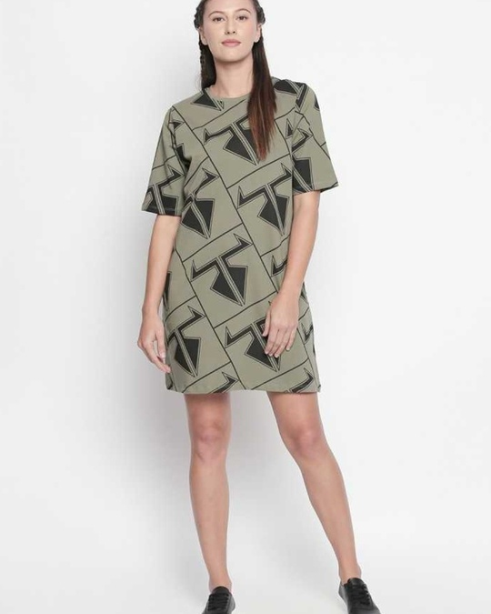 Shop Graphic Print Olive Dress For Women-Full
