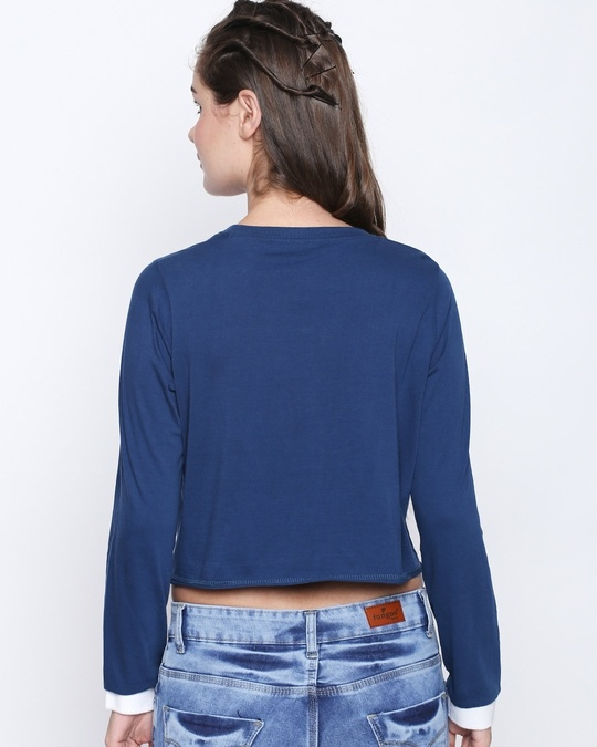 Shop M Blue Cotton Graphic Print Full Sleeve Crop T Shirt For Women's-Back
