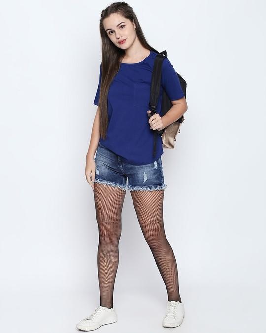 Shop Royal Blue Cotton Graphic Print Half Sleeve T Shirt For Women's