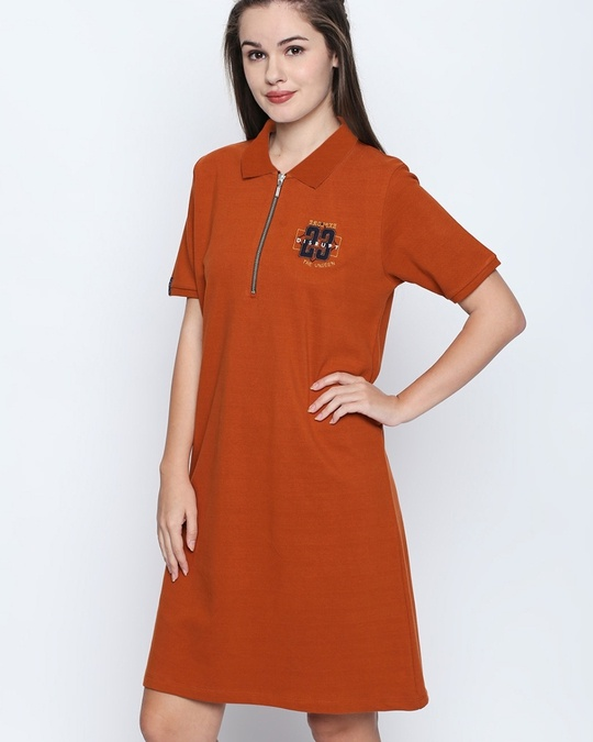 Shop Rust Cotton Embroidered Half Sleeve Polo Dress For Women