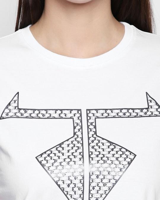 Shop White Cotton Graphic Print Half Sleeve T Shirt For Women's