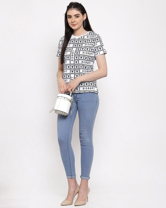 Shop White Cotton Half Sleeve All Over Printed T Shirt For Women