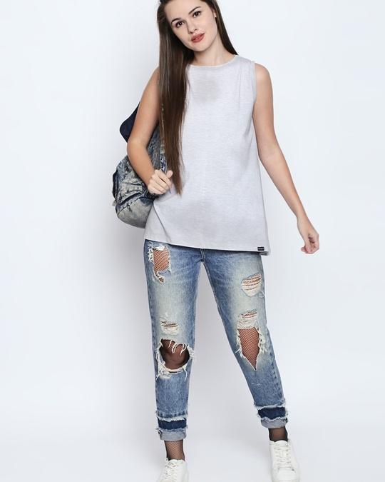 Shop White Melange Cotton Viscose Blend Graphic Print Sleeveless T Shirt For Women