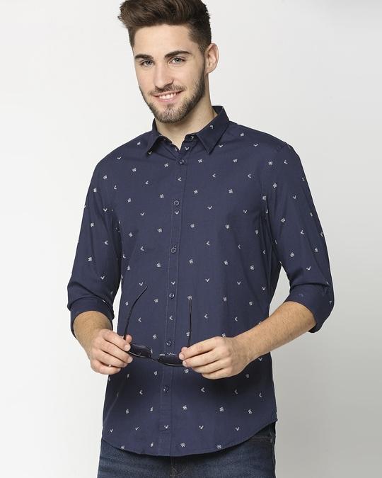 Shop Dark Blue Poplin Print Shirt-Back
