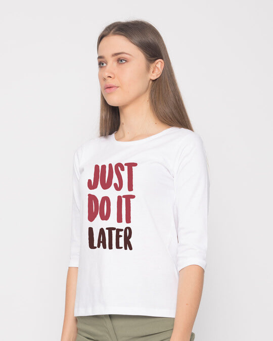 Shop Do It Later Round Neck 3/4th Sleeve T-Shirt-Back