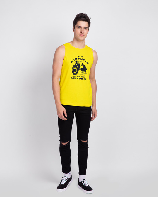Shop Do It With Passion Round Neck Vest Pineapple Yellow -Full