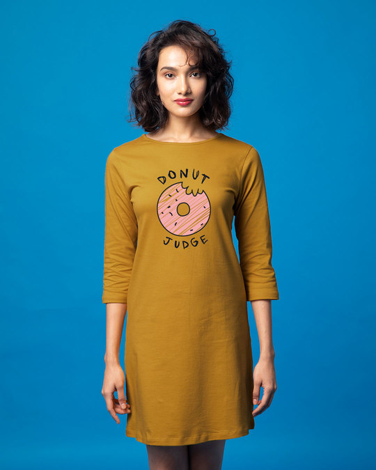 Shop Do Not Judge Boat Neck 3/4th Sleeve T-Shirt Dress-Front