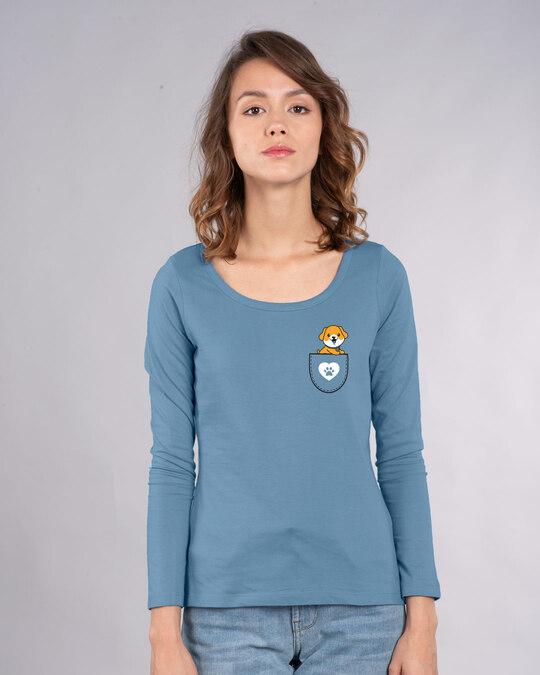 Shop Dog Paw Pocket Scoop Neck Full Sleeve T-Shirt-Back