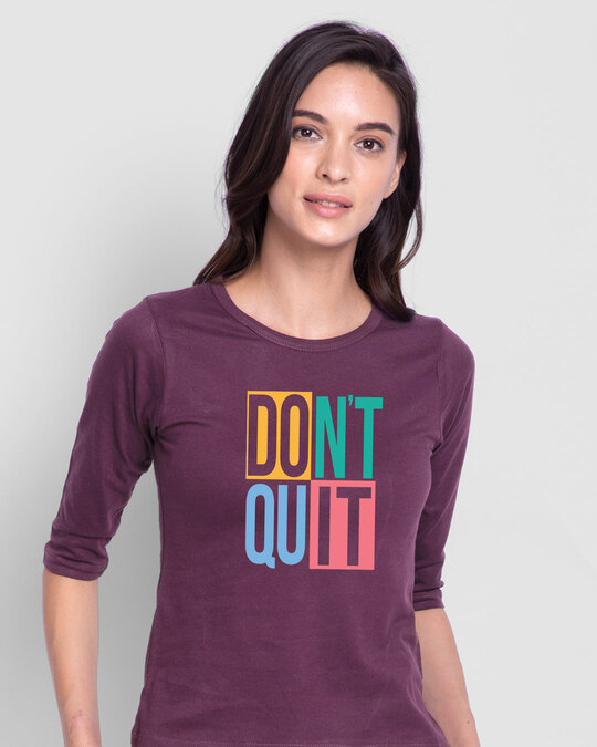 Shop Don't Block Round Neck 3/4th Sleeve T-Shirt-Front