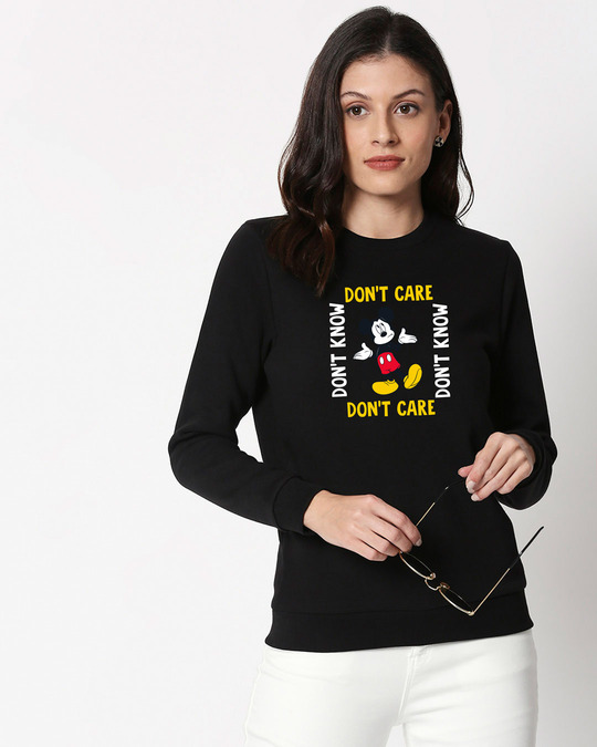 Shop Don't Care Mickey Fleece Sweater (DL) Black-Front