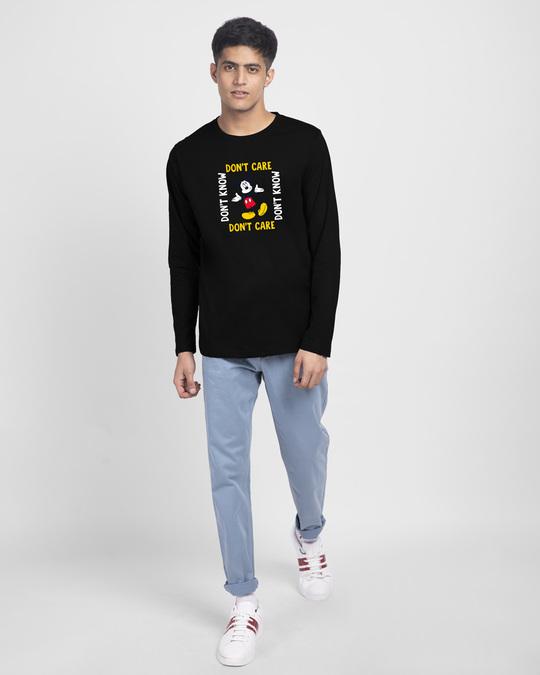 Shop Don't Care Mickey Full Sleeve T-Shirt (DL) Black-Design