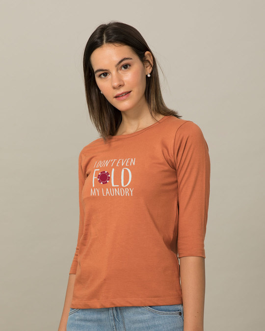 Shop Don't Even Fold Round Neck 3/4th Sleeve T-Shirt-Back