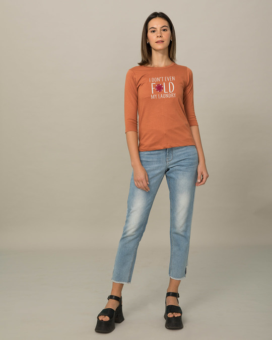 Shop Don't Even Fold Round Neck 3/4th Sleeve T-Shirt-Full