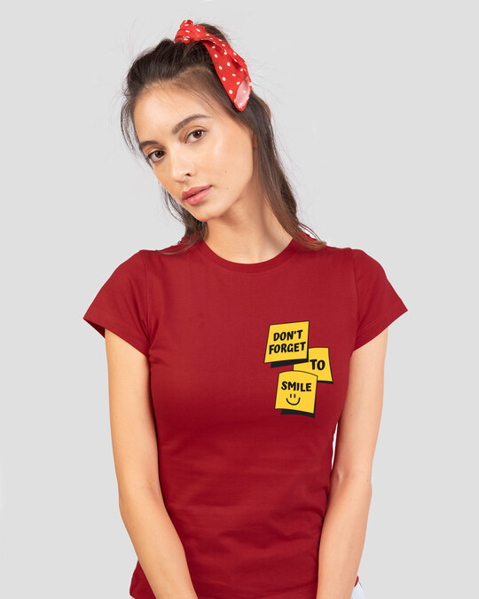 Shop Don't Forget To Smile Half Sleeve T-Shirt-Front