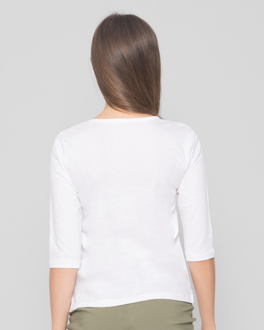 Shop Don't Give A Sip Round Neck 3/4th Sleeve T-Shirt White-Back