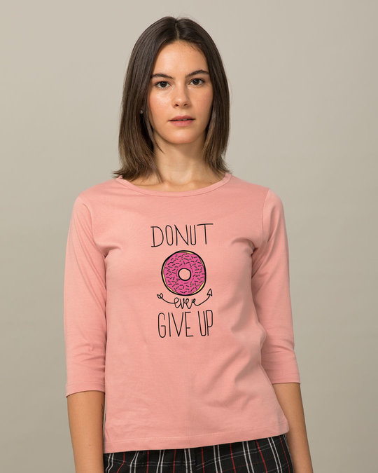 Shop Don't Give Up Round Neck 3/4th Sleeve T-Shirt-Front