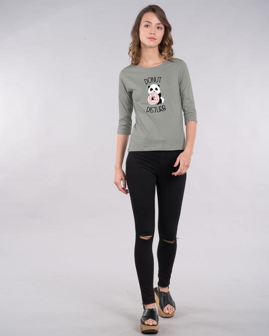 Shop Donut Disturb Panda Round Neck 3/4th Sleeve T-Shirt-Design
