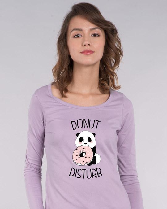 Shop Donut Disturb Panda Scoop Neck Full Sleeve T-Shirt-Front