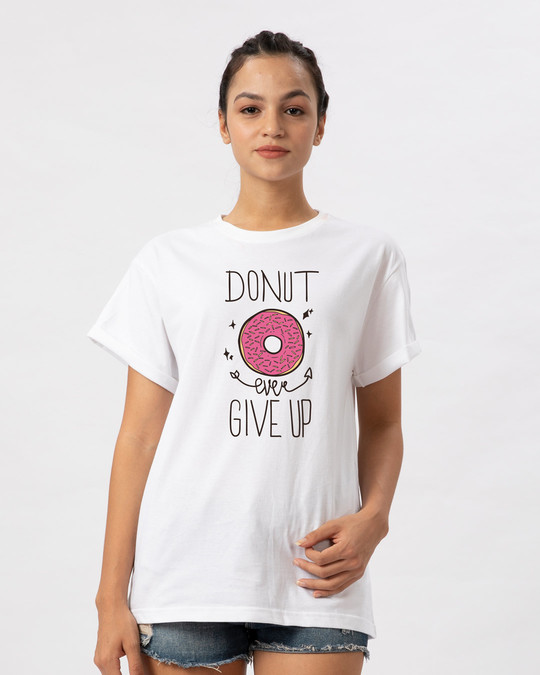 Shop Donut Ever Give Up Boyfriend T-Shirt-Front