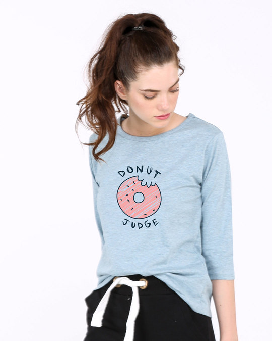 Shop Donut Judge Round Neck 3/4th Sleeve T-Shirt-Front
