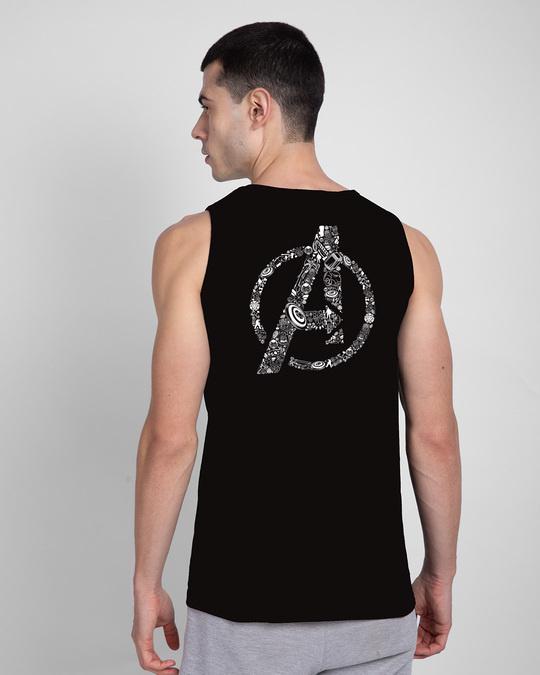Shop Doodled Avengers Round Neck Vest Black (AVL) (GID)-Design