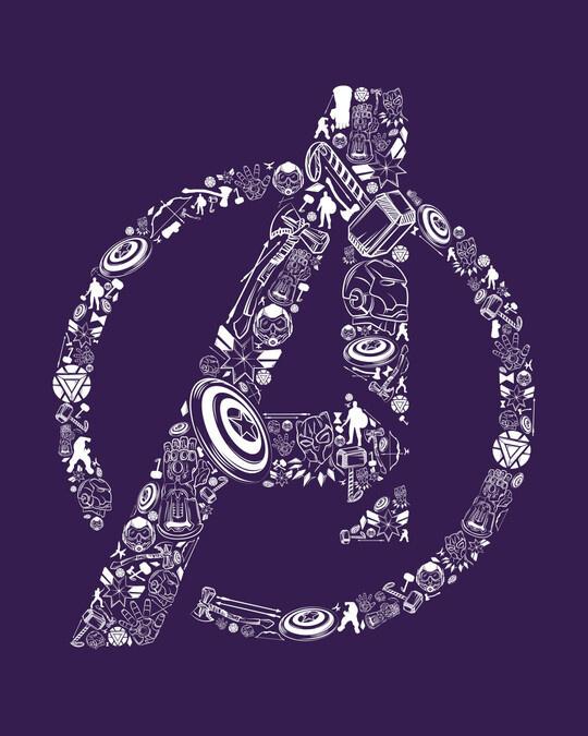 Shop Doodled Avengers Round Neck Vest Parachute Purple (AVL) (GID)