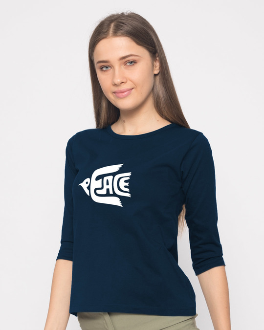 Shop Dove Peace Round Neck 3/4th Sleeve T-Shirt-Back