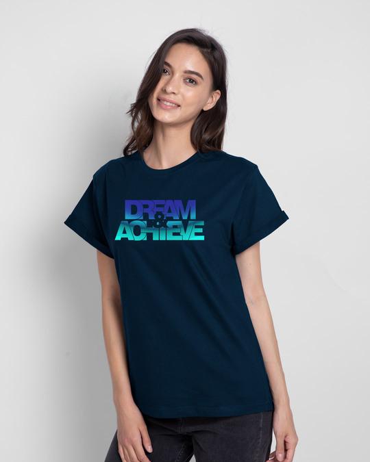 Shop Dream & achieve gradient Boyfriend T-Shirt-Front