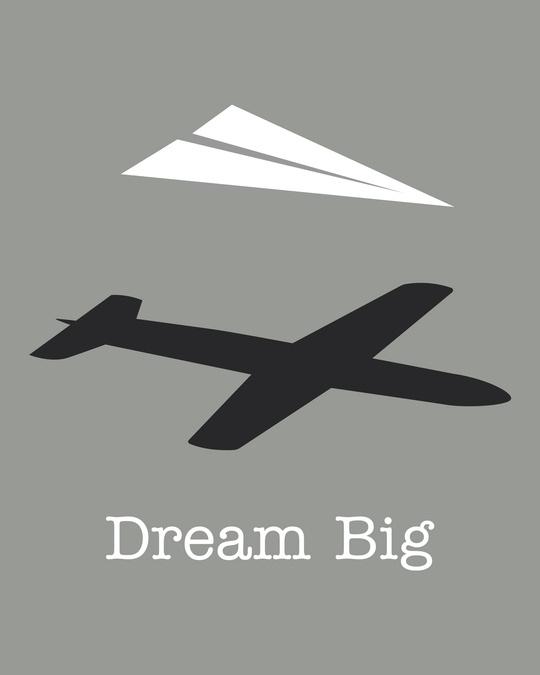 Shop Dream Big Plane Half Sleeve T-Shirt-Full