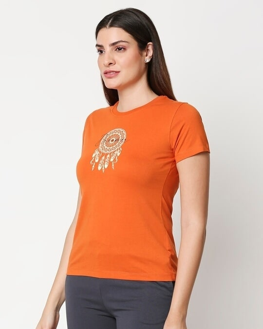 Shop Dream Catcher Womens Printed Orange Lounge T-shirt-Back