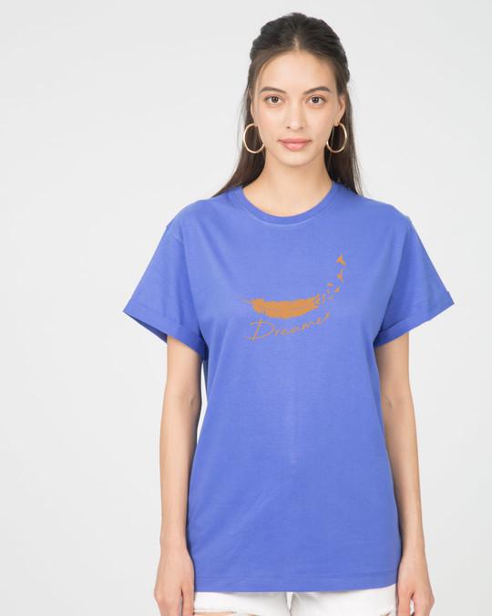 Shop Dream Feather Boyfriend T-Shirt-Front