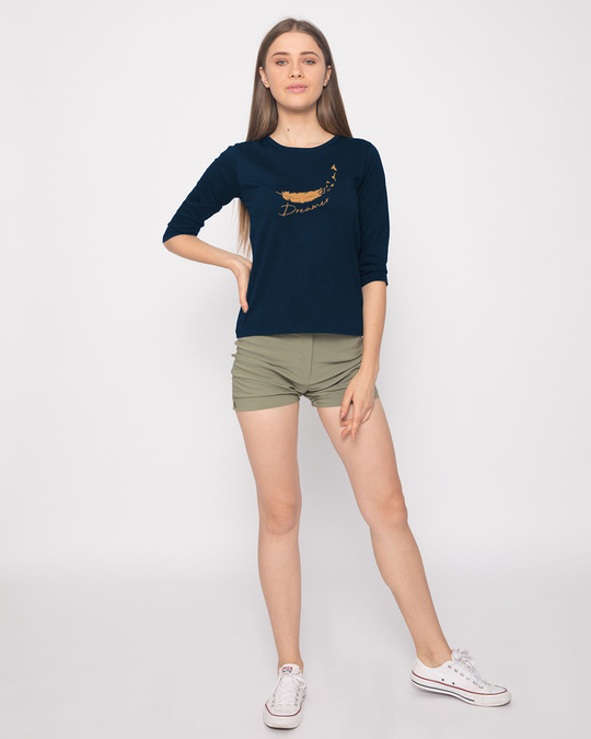 Shop Dream Feather Round Neck 3/4th Sleeve T-Shirt-Full