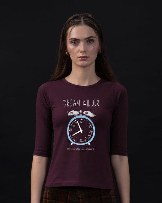 Shop Dream Killer Round Neck 3/4th Sleeve T-Shirt-Front