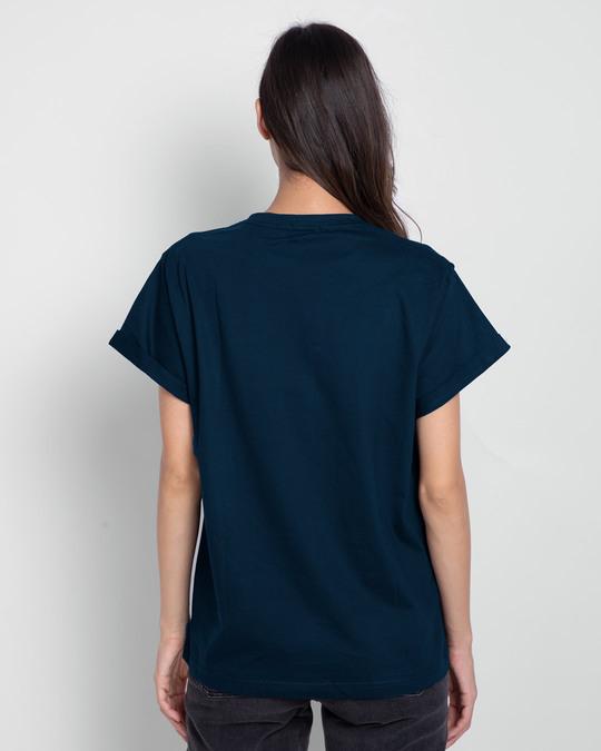 Shop Dreamer Feathers Boyfriend T-Shirts Navy Blue-Full
