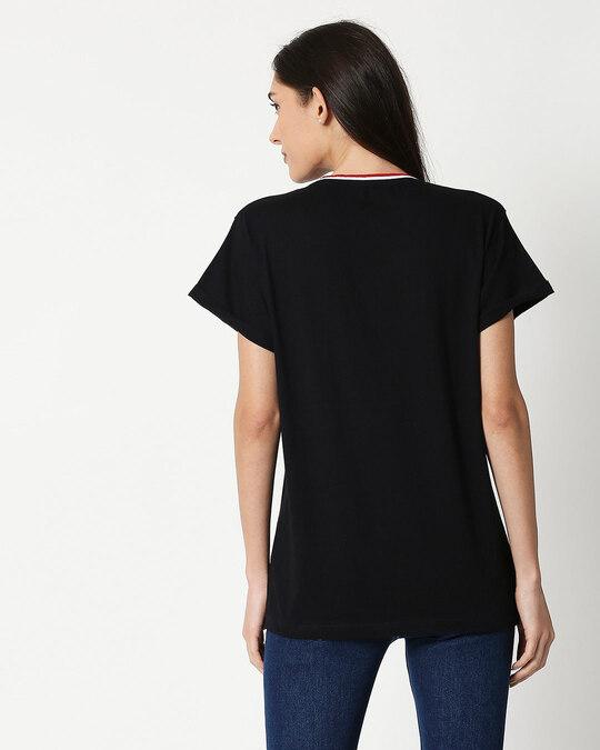 Shop Dreamer Feathers Boyfriend Varsity Rib H/S T-Shirt Multicoclor-Back
