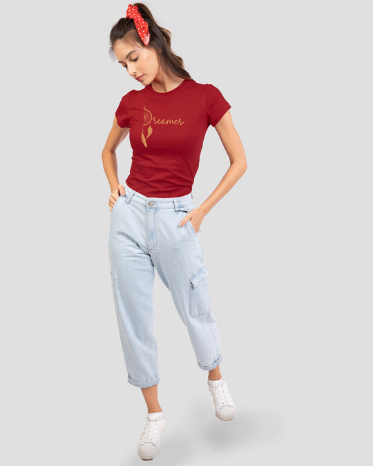 Shop Dreamer Feathers Half Sleeve Printed T-Shirt Bold Red-Full