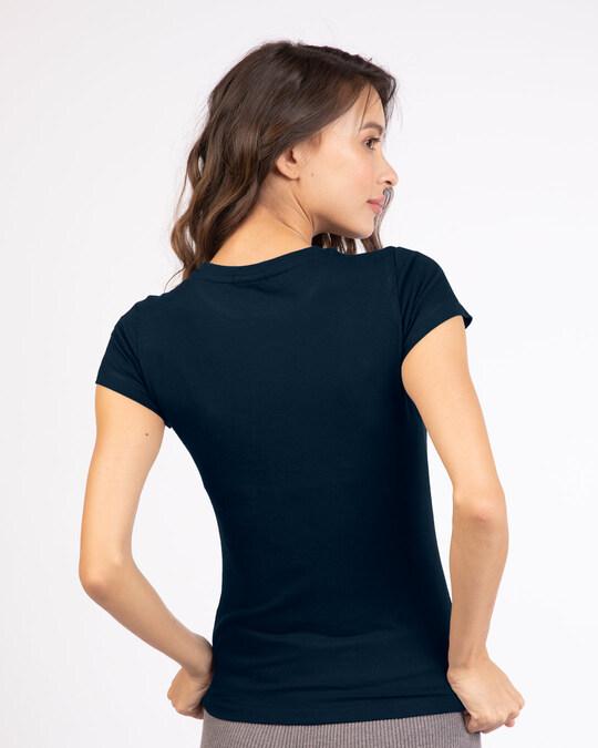 Shop Dreamer Feathers Half Sleeve Printed T-Shirt Navy Blue-Design